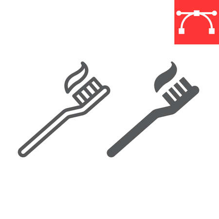 Toothbrush line and glyph icon, dental and stomatolgy, toothbrush with toothpaste sign vector graphics, editable stroke linear icon, eps 10.
