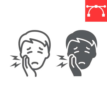 Toothache line and glyph icon, dental and stomatolgy, tooth pain sign vector graphics, editable stroke linear icon, eps 10.