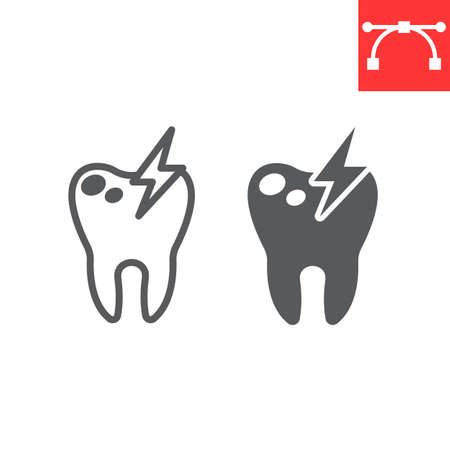 Sick tooth line and glyph icon, dental and stomatolgy, toothache sign vector graphics, editable stroke linear icon, eps 10. Çizim