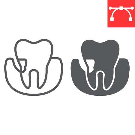 Periodontitis line and glyph icon, dental and stomatolgy, periodontal tooth sign vector graphics, editable stroke linear icon, eps 10.