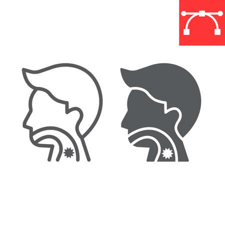 Sore throat line and glyph icon, pain and covid-19, sickness sign vector graphics, editable stroke linear icon, eps 10. Çizim
