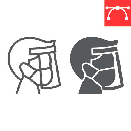 Face shield mask line and glyph icon, protection and covid-19, face mask sign vector graphics, editable stroke linear icon, eps 10. Çizim