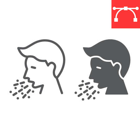 Cough line and glyph icon, coronavirus and covid-19, sneezing sign vector graphics Stok Fotoğraf - 153783926