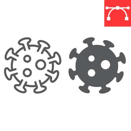 Coronavirus line and glyph icon, virus and covid-19, 2019-ncov sign vector graphics