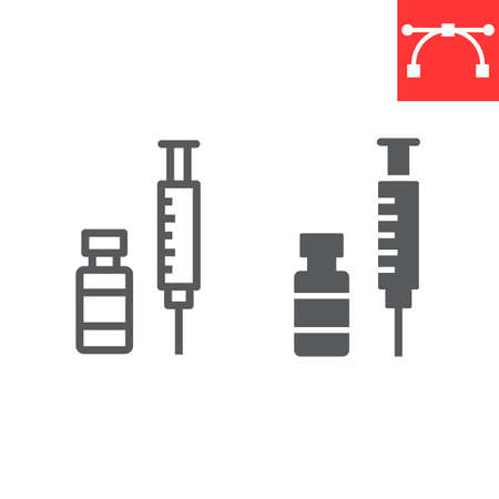 Covid-19 vaccine line and glyph icon, coronavirus and syringe, vaccination sign Stok Fotoğraf - 153783928