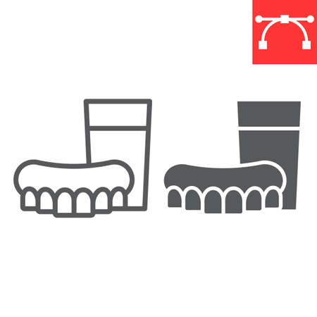 Denture line and glyph icon, dental and stomatology, dentures sign vector graphics Stok Fotoğraf - 153783929