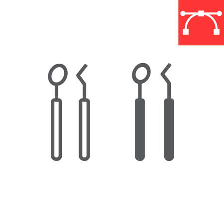 Dental tools line and glyph icon, dental and stomatology, dentist tools sign Çizim