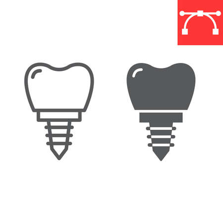 Dental implant line and glyph icon, dental and stomatology, implant tooth sign Stok Fotoğraf - 153783930