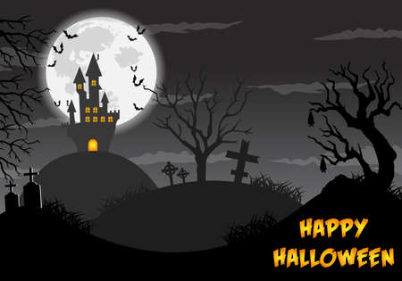 Happy halloween poster, trick or treat card, halloween party background, flyer template with horror elements, halloween  illustration. Stok Fotoğraf - 154146207