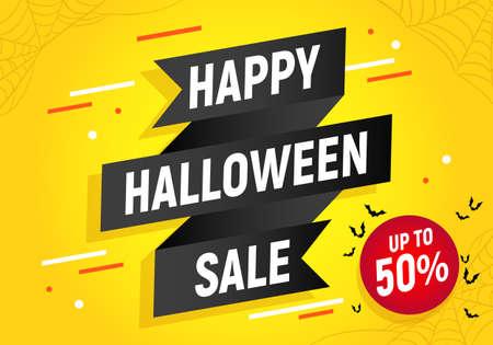 Happy halloween sale, discount card, halloween shopping, sales black ribbon banner, halloween sale  illustration. Çizim