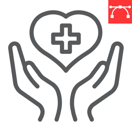 Health care line icon, AIDS and giving love, heart with hands sign vector graphics, editable stroke linear icon.
