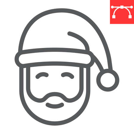 Santa Claus line icon, merry christmas and xmas, new year sign vector graphics, editable stroke linear icon, eps 10. Illustration