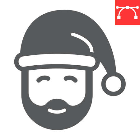 Santa Claus glyph icon, merry christmas and xmas, new year sign vector graphics, editable stroke solid icon, eps 10. Illustration
