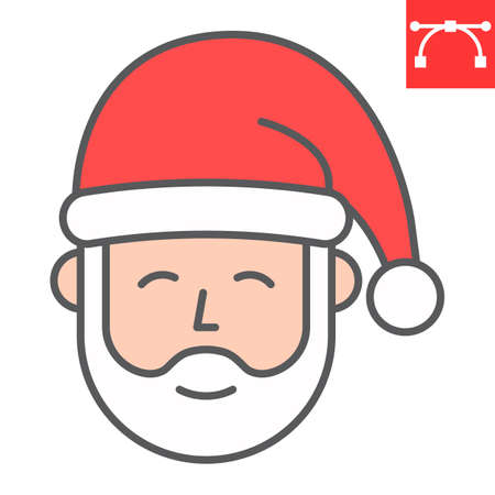 Santa Claus color line icon, merry christmas and xmas, new year sign vector graphics, editable stroke filled outline icon, eps 10.