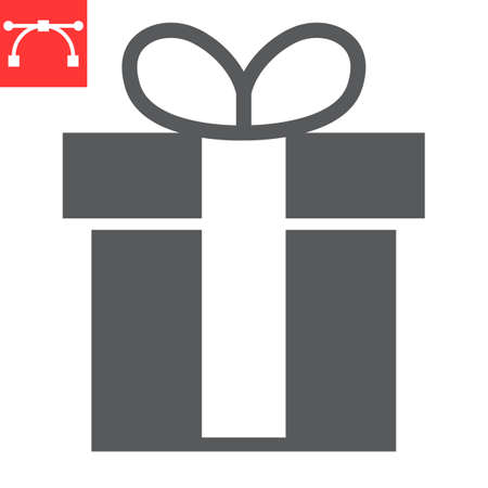 Gift glyph icon, merry christmas and package, present sign vector graphics, editable stroke solid icon, eps 10. Illustration