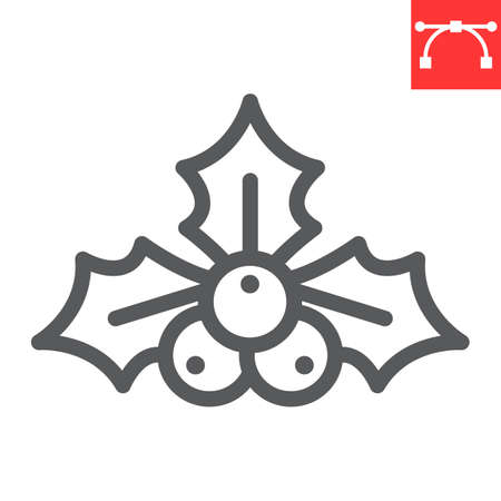 Christmas holly berry line icon, merry christmas and xmas, holly tree sign vector graphics, editable stroke linear icon, eps 10.