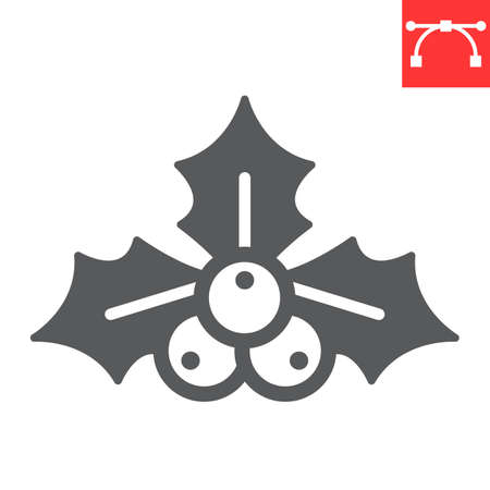Christmas holly berry glyph icon, merry christmas and xmas, holly tree sign vector graphics, editable stroke solid icon, eps 10.