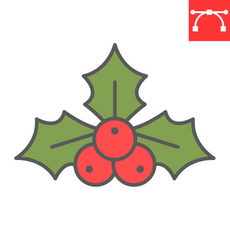 Christmas holly berry color line icon, merry christmas and xmas, holly tree sign vector graphics, editable stroke filled outline icon, eps 10. Illustration