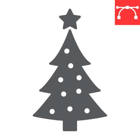 Christmas tree glyph icon, merry christmas and xmas, fir tree sign vector graphics, editable stroke solid icon, eps 10.