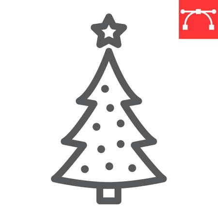 Christmas tree line icon, merry christmas and xmas, fir tree sign vector graphics, editable stroke linear icon, eps 10. Illustration