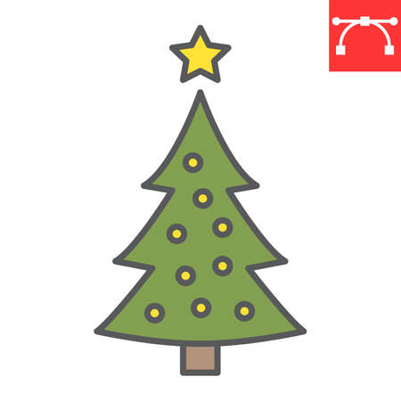 Christmas tree color line icon, merry christmas and xmas, fir tree sign vector graphics, editable stroke filled outline icon, eps 10.