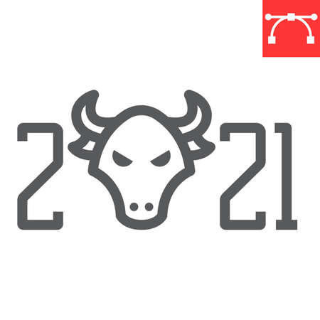 Year of the bull 2021 line icon, merry christmas and new year, year of the ox sign vector graphics, editable stroke linear icon, eps 10.