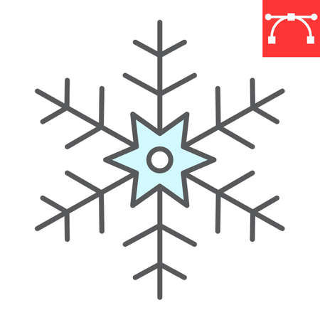 Snowflake color line icon, merry christmas and frost, snow sign vector graphics, editable stroke filled outline icon, eps 10. Illustration
