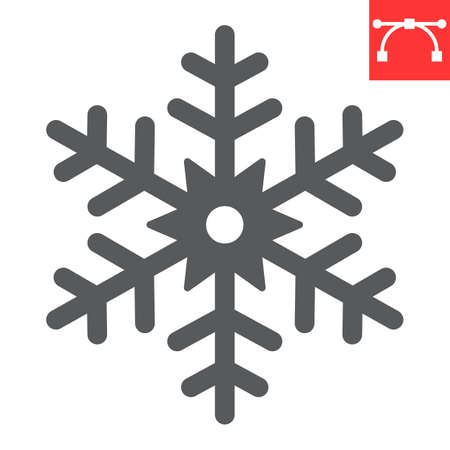 Snowflake glyph icon, merry christmas and frost, snow sign vector graphics, editable stroke solid icon, eps 10.