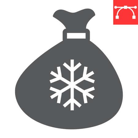Santa bag glyph icon, merry christmas and present, santa sack sign vector graphics, editable stroke solid icon, eps 10.