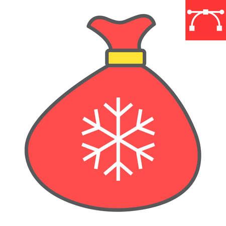 Santa bag color line icon, merry christmas and present, santa sack sign vector graphics, editable stroke filled outline icon, eps 10.
