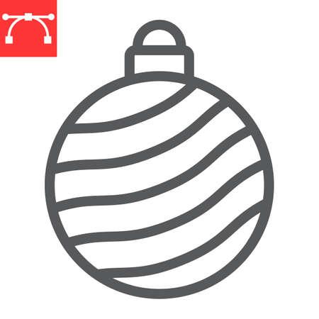 Christmas tree ball line icon, merry christmas and xmas, christmas bauble sign vector graphics, editable stroke linear icon, eps 10.