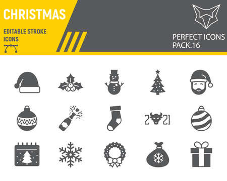 Christmas glyph icon set, happy new year collection, vector sketches, logo illustrations, merry christmas icons, holiday signs solid pictograms, editable stroke.