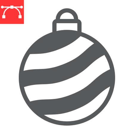 Christmas tree ball glyph icon, merry christmas and xmas, christmas bauble sign vector graphics, editable stroke solid icon, eps 10. Illustration
