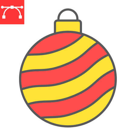 Christmas tree ball color line icon, merry christmas and xmas, christmas bauble sign vector graphics, editable stroke filled outline icon, eps 10.