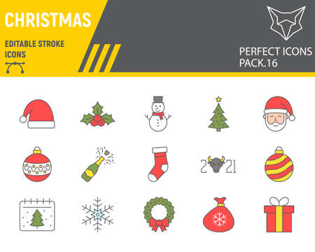 Christmas color line icon set, happy new year collection, vector sketches, logo illustrations, merry christmas icons, holiday signs filled outline pictograms, editable stroke.