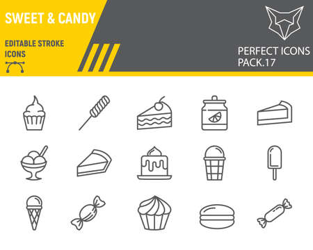 Sweets line icon set, desserts collection, vector sketches, logo illustrations, confectionery icons, pastry signs linear pictograms, editable stroke.