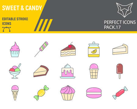 Sweets color line icon set, desserts collection, vector sketches, logo illustrations, confectionery icons, pastry signs filled outline pictograms, editable stroke. Illustration