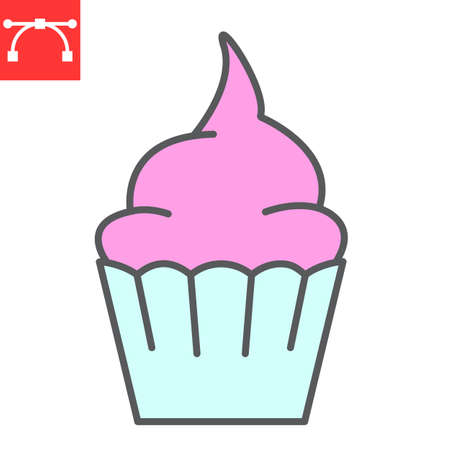 Cupcake color line icon, dessert and cake, muffin sign vector graphics, editable stroke filled outline icon