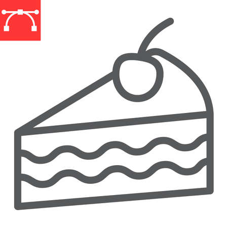 Piece of cake line icon, dessert and cake, cheesecake sign vector graphics, editable stroke linear icon