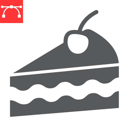 Piece of cake glyph icon, dessert and cake, cheesecake sign vector graphics, editable stroke solid icon