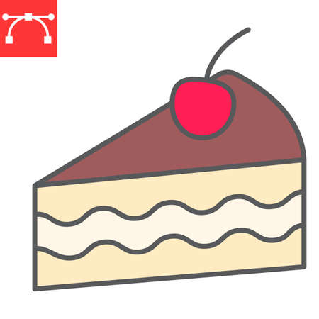 Piece of cake color line icon, dessert and cake, cheesecake sign vector graphics, editable stroke filled outline icon