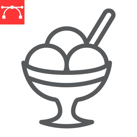 Ice cream in bowl line icon, dessert and cold, sorbet sign vector graphics, editable stroke linear icon