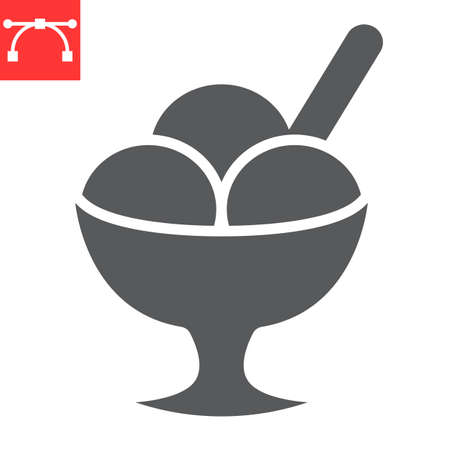 Ice cream in bowl glyph icon, dessert and cold, sorbet sign vector graphics, editable stroke solid icon