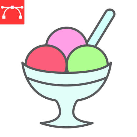 Ice cream in bowl color line icon, dessert and cold, sorbet sign vector graphics, editable stroke filled outline icon
