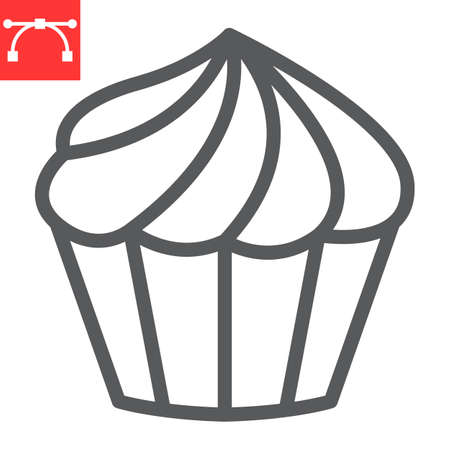 Cupcake line icon, dessert and cake, muffin sign vector graphics, editable stroke linear icon