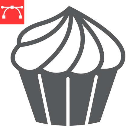 Cupcake glyph icon, dessert and cake, muffin sign vector graphics, editable stroke solid icon