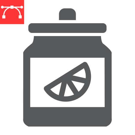 Orange jam jar glyph icon, dessert and deliciois, jam sign vector graphics, editable stroke solid icon