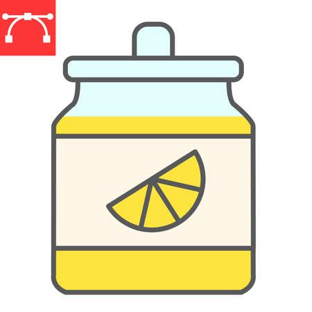 Orange jam jar color line icon, dessert and deliciois, jam sign vector graphics, editable stroke filled outline icon, eps 10. Illustration