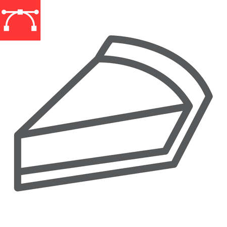 Cheesecake line icon, dessert and cake, piece of cheesecake sign vector graphics, editable stroke linear icon