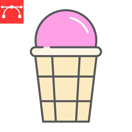 Ice cream color line icon, dessert and delicious, ice cream in waffle sign vector graphics, editable stroke filled outline icon Illustration